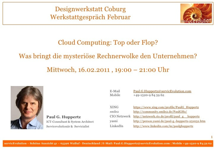 Designwerkstatt Coburg                               Werkstattgespräch Februar                                    Cloud Co...