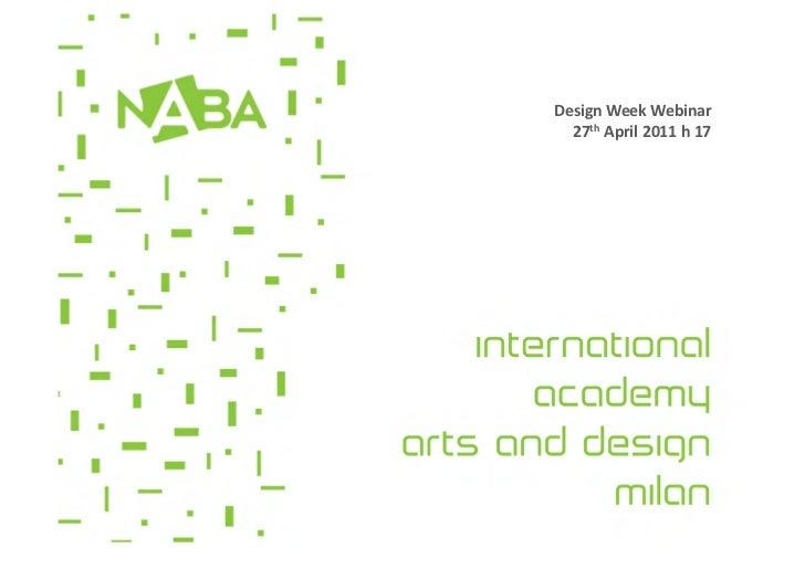 Design Week Webinar    27th April 2011 h 17