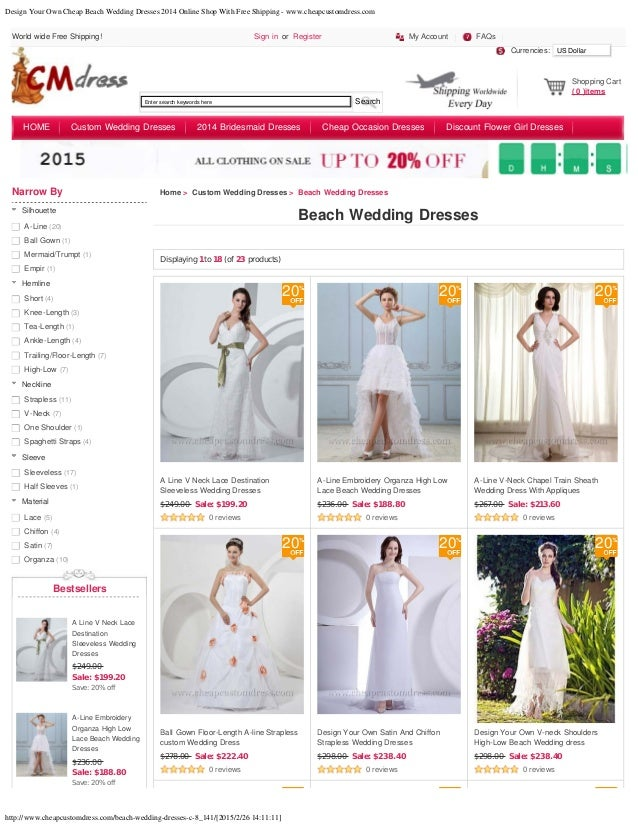 Design your own cheap beach wedding dresses 2014 online for Design your own wedding dress online for free