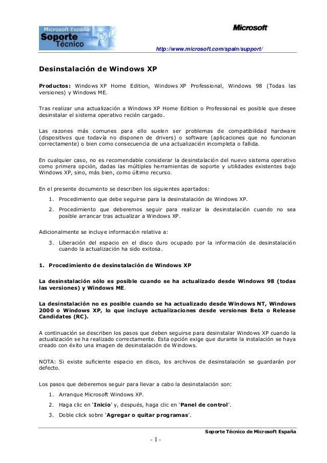 http://www.microsoft.com/spain/support/Soporte Técnico de Microsoft España- 1 -Desinstalación de Windows XPProductos: Wind...