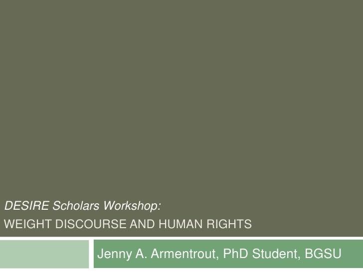 Desire Scholars Workshop Presentation