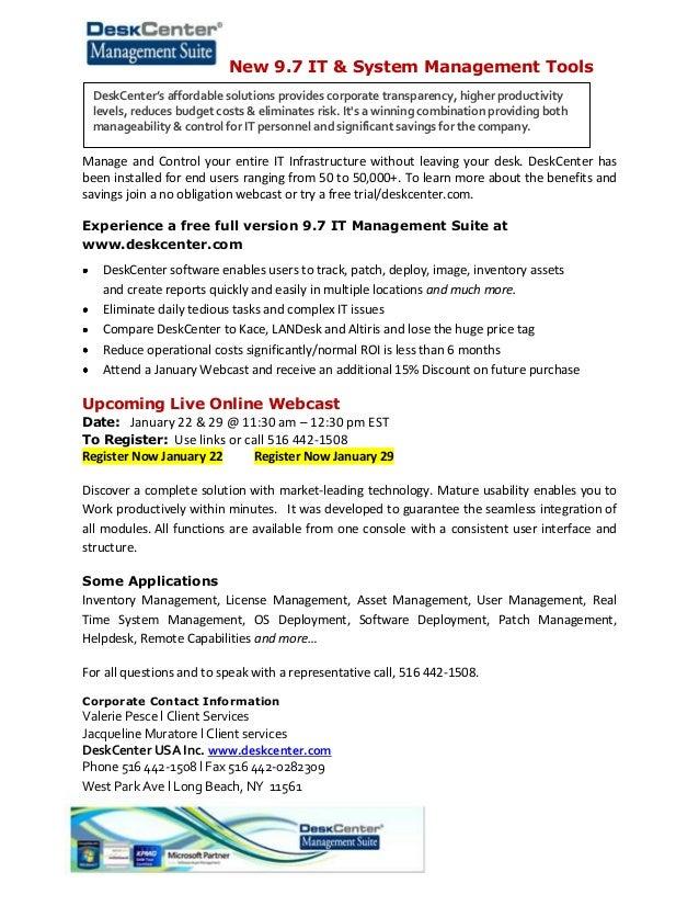 DeskCenter USA IT & System Management Solutions