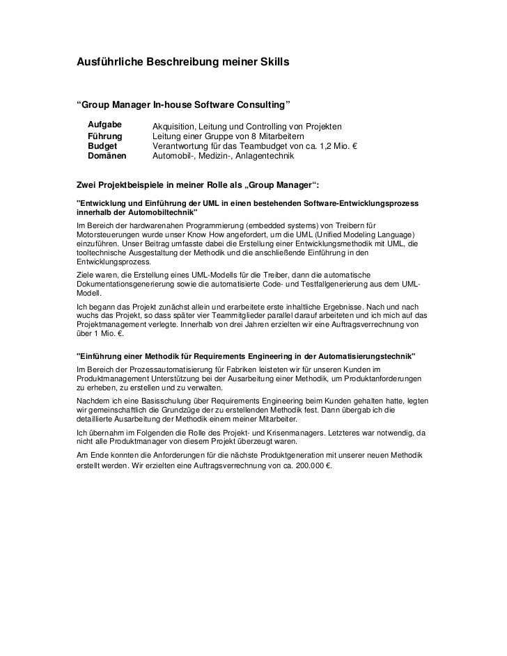 """Ausführliche Beschreibung meiner Skills""""Group Manager In-house Software Consulting""""   Aufgabe           Akquisition, Leitu..."""