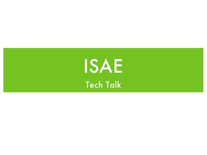ISAE Tech Talk Keynote