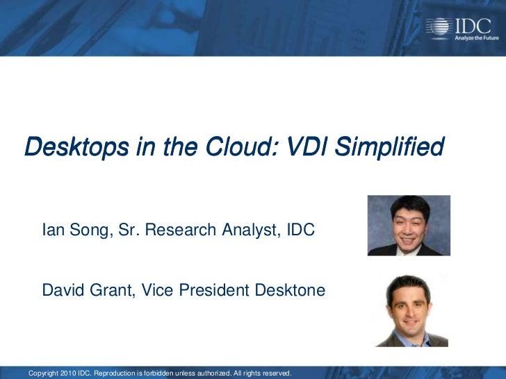 VDI Simplified: Desktops in the Cloud