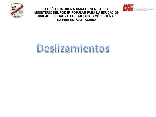 REPÚBLICA BOLIVARIANA DE VENEZUELAMINISTERIO DEL PODER POPULAR PARA LA EDUCACIÓNUNIDAD EDUCATIVA BOLIVARIANA SIMÓN BOLÍVAR...