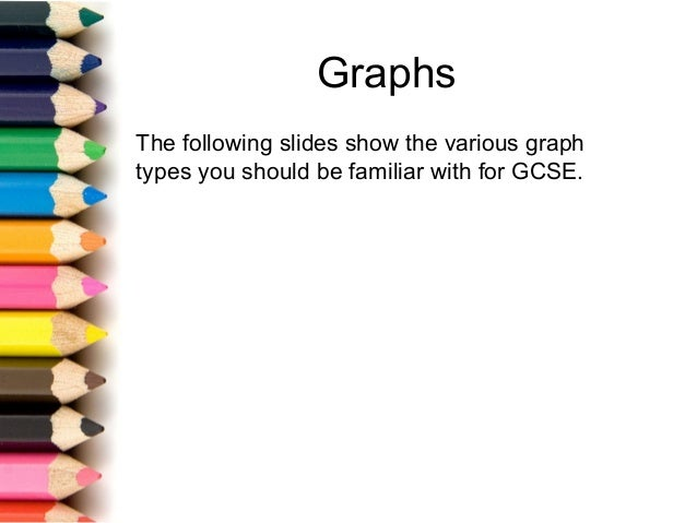 Graphs The following slides show the various graph types you should be familiar with for GCSE.
