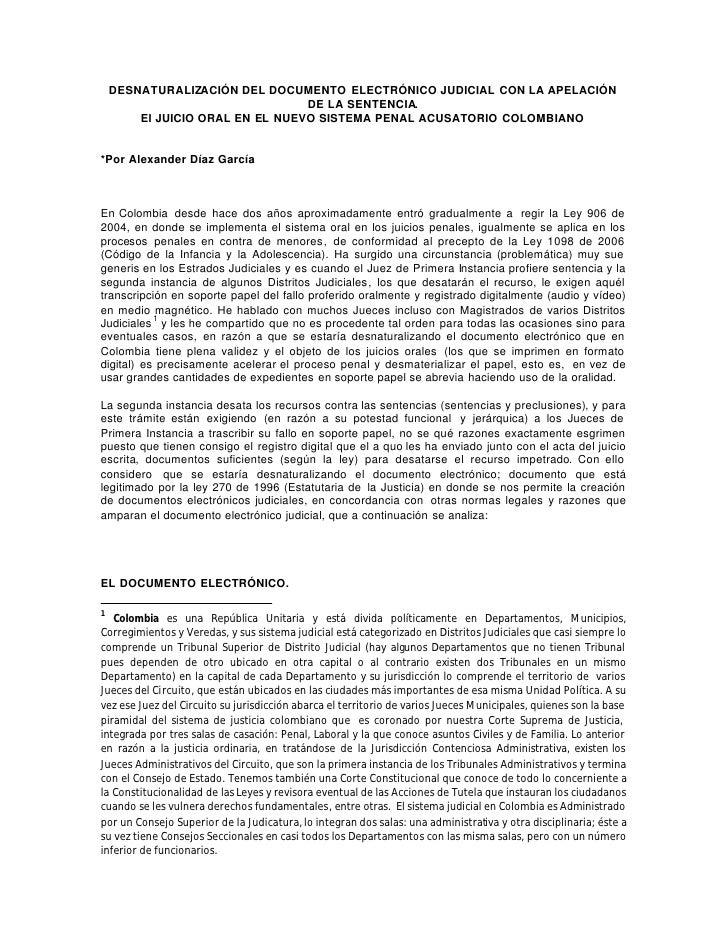 Desnaturalización del Documento Electrónico Judicial en Colombia