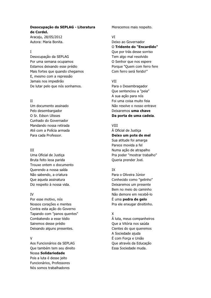Desocupação da SEPLAG - Literatura   Merecemos mais respeito.de Cordel.Aracaju, 28/05/2012                  VIAutora: Mari...
