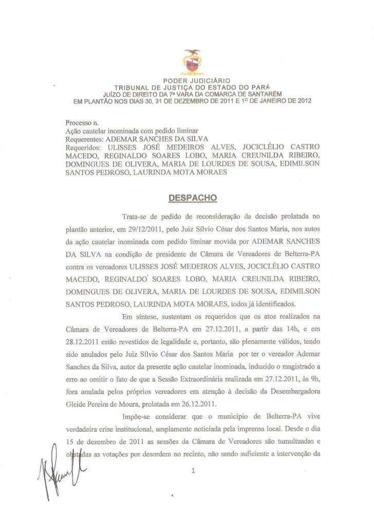 Despacho de 31 12-2011 e 01-01-2012 sobre o legislativo belterrense