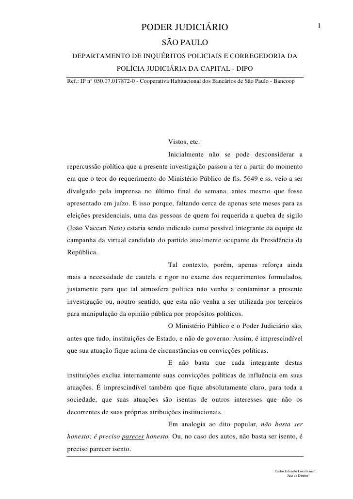 Despacho do juiz Carlos Eduardo Lora Franco sobre o caso Bancoop.