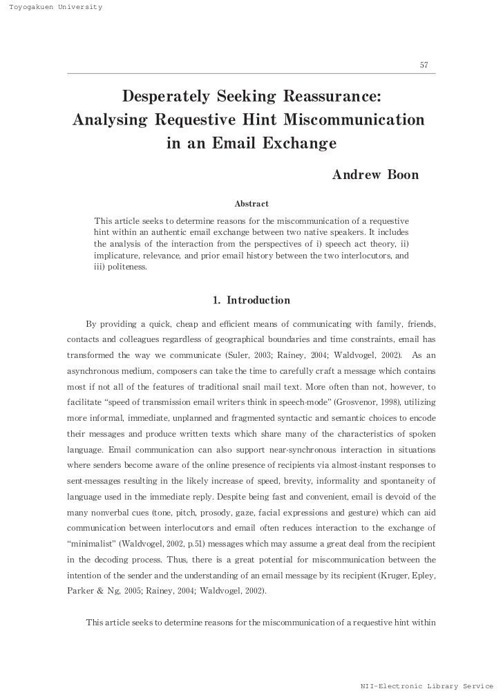 Desperately Seeking Reassurance: Analyzing Requestive Hint Miscommunication in an Email Exchange