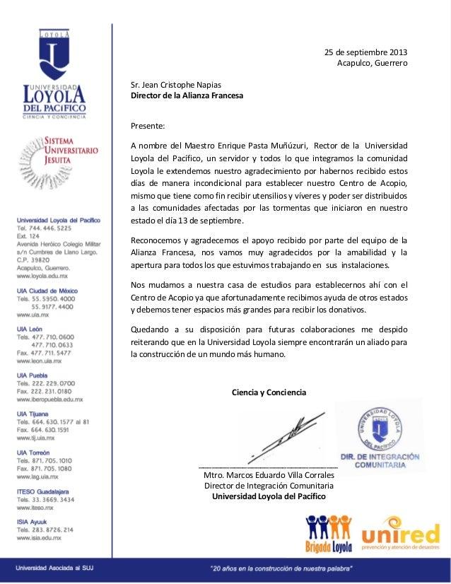 Carta de agradecimiento a la Alianza Francesa Acapulco