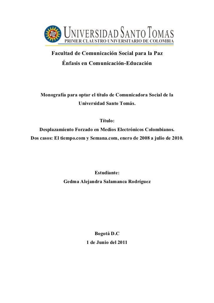Facultad de Comunicación Social para la Paz              Énfasis en Comunicación-Educación    Monografía para optar el tít...