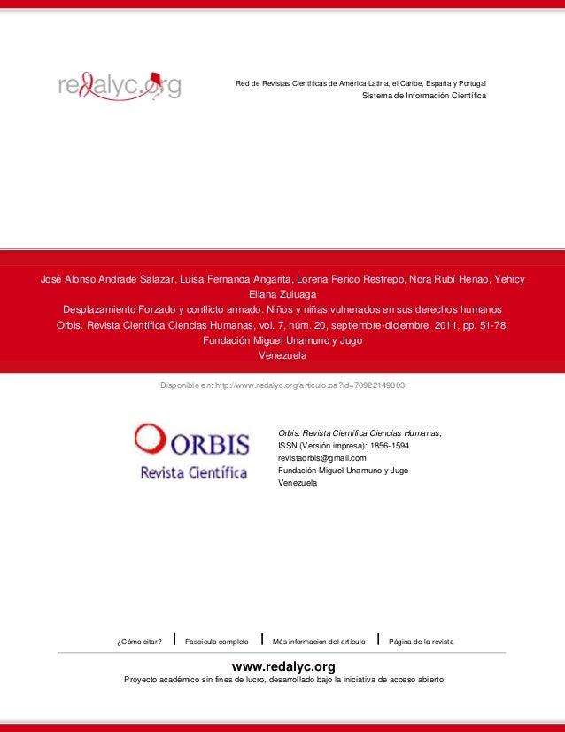 Red de Revistas Científicas de América Latina, el Caribe, España y Portugal  Sistema de Información Científica  José Alons...