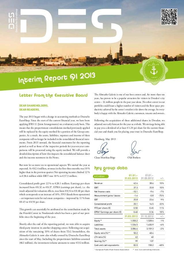 Deutsche EuroShop | Interim Report Q1 2013