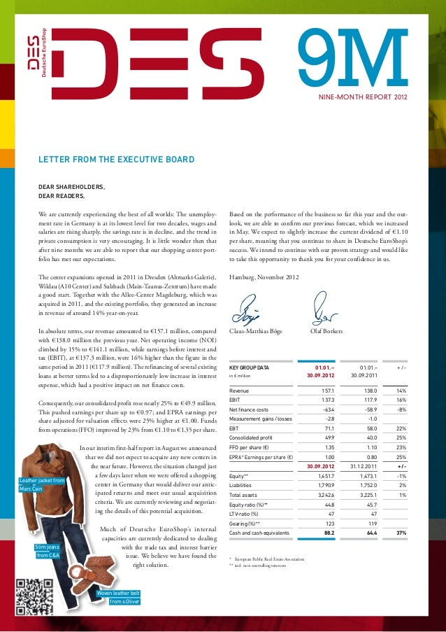 9M            Nine-month report 2012       Letter from the Executive Board                     Dear Shareholders,       ...
