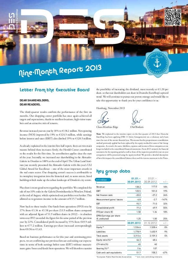 Deutsche EuroShop | Nine-month report 2013