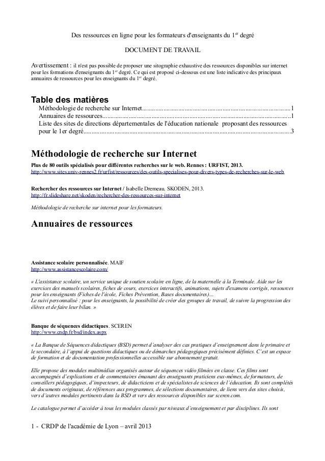 Des ressources en ligne pour les formateurs denseignants du 1er degré                                                   DO...