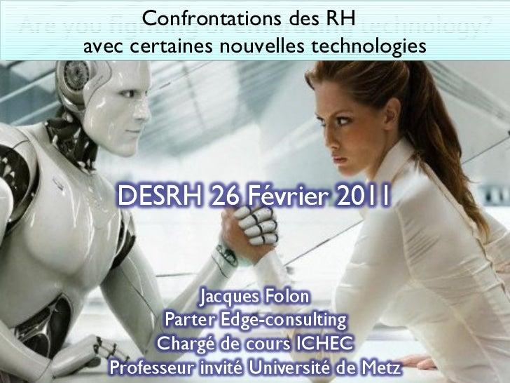 Confrontations des RH  avec certaines nouvelles technologies