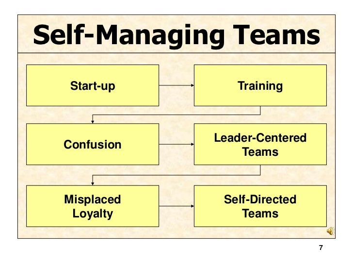 self managed teams essay Self-managed work teams 2 self-managed work teams are groups of employee who are responsible for a complete set of tasks and duties which are related to the production of a final product or an on going process.