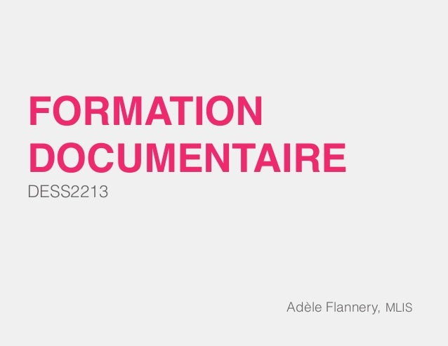 DESS2213 formation documentaire Adèle Flannery, MLIS