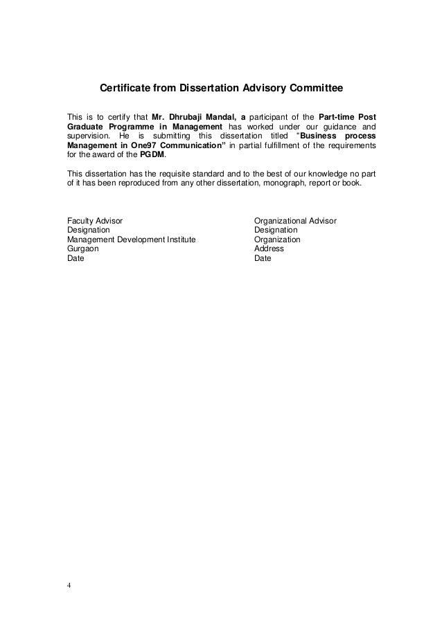 Dissertation advisory committee