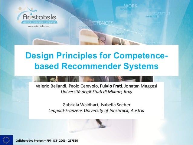 Collaborative Project – FP7- ICT- 2009 - 257886Design Principles for Competence-based Recommender SystemsValerio Bellandi,...