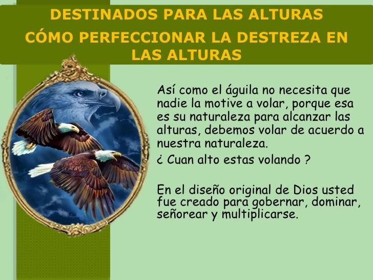 DESTINADOS PARA LAS ALTURAS CÓMO PERFECCIONAR LA DESTREZA EN           LAS ALTURAS               Así como el águila no nec...