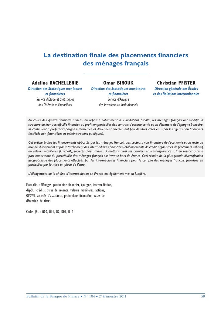 La destination finale des placements financiers                          des ménages français    Adeline BACHELLERIE        ...