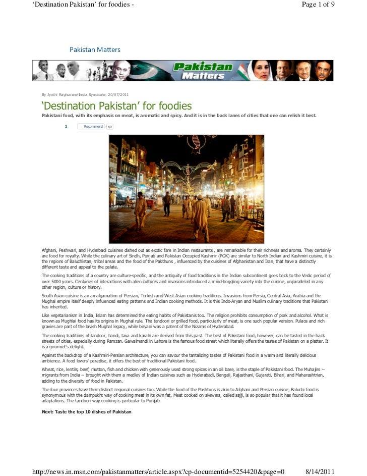 'Destination pakistan' for foodies