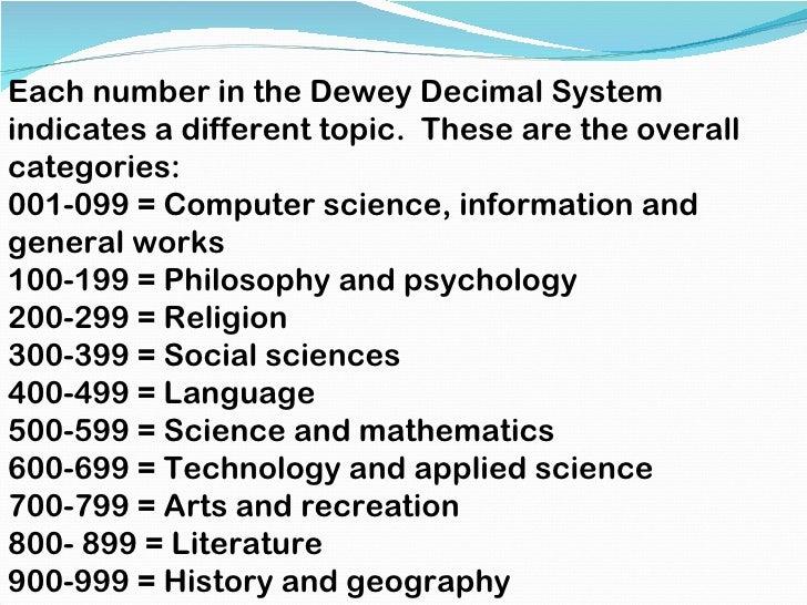 dewey number essays August 14, 2018 (310) 847-3700 edlio login library » dewey decimal  classification  814 essays 815 speeches 820 english & old english literatures.