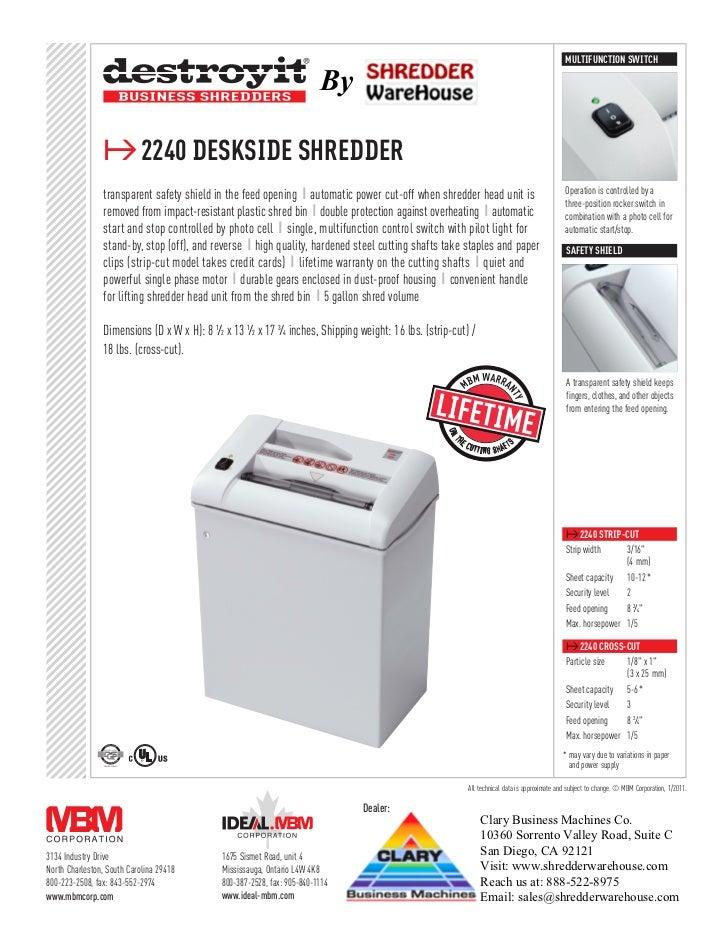 Destroyit 2240CC Cross Cut Personal Paper Shredder