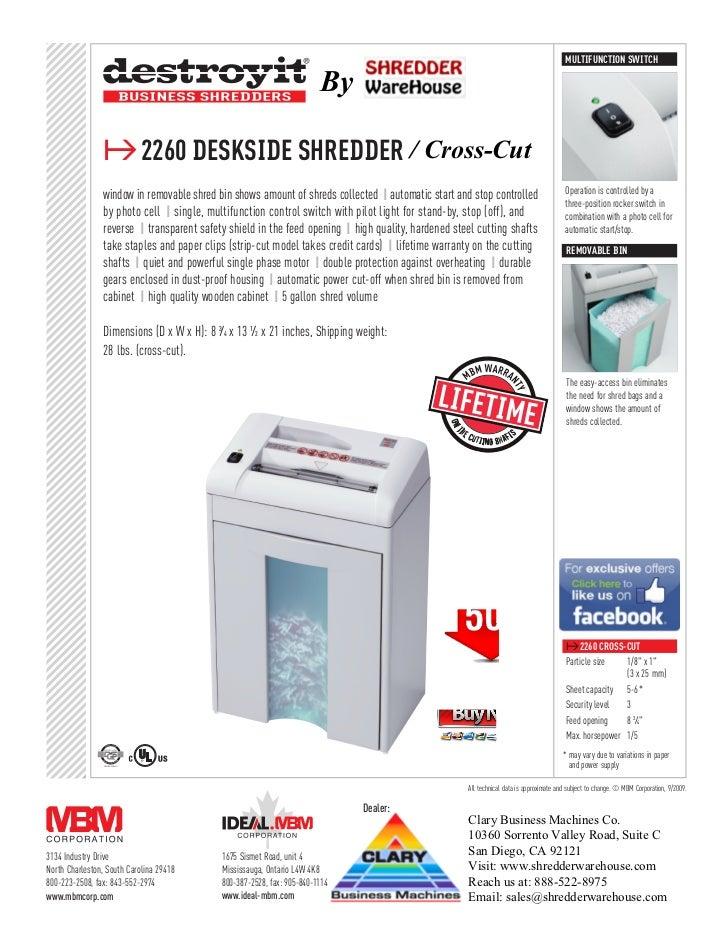 Destroyit 2260CC Cross Cut Personal Paper Shredder