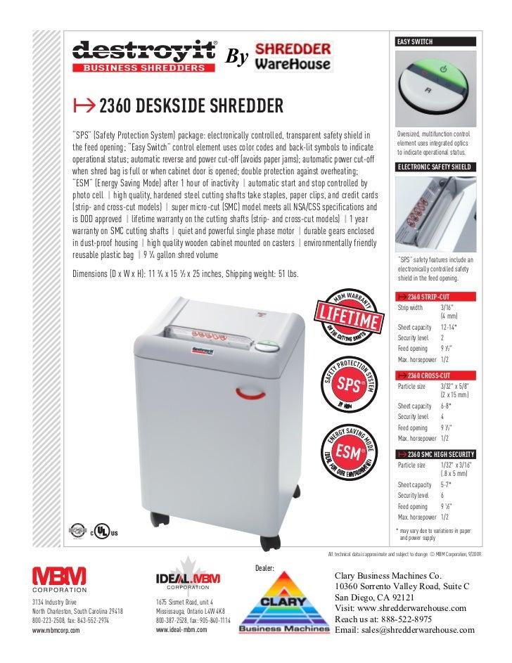 Destroyit 2360SC Strip Cut Personal Paper Shredder