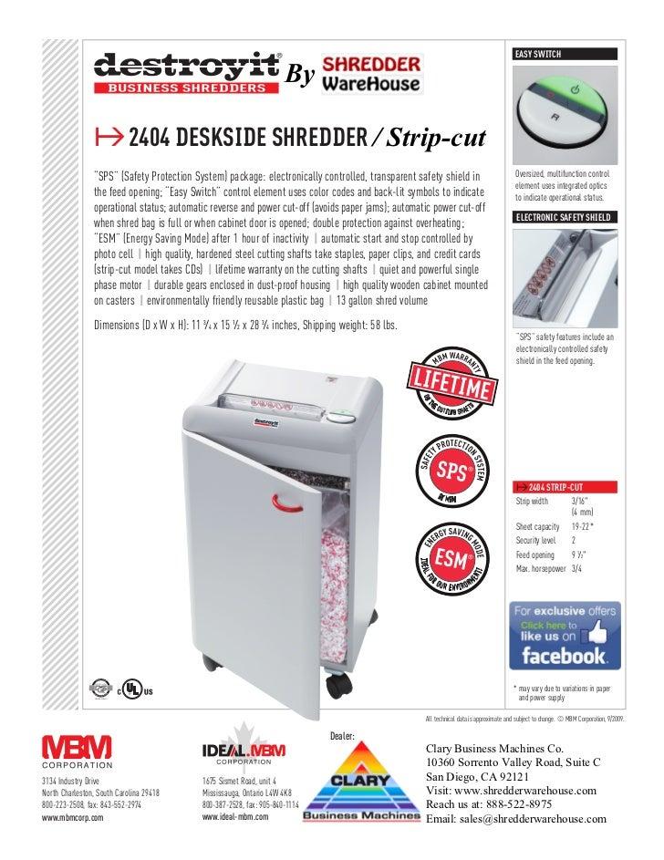 EASY SWITCH                                                                        By                ≥2404 deskside shredd...
