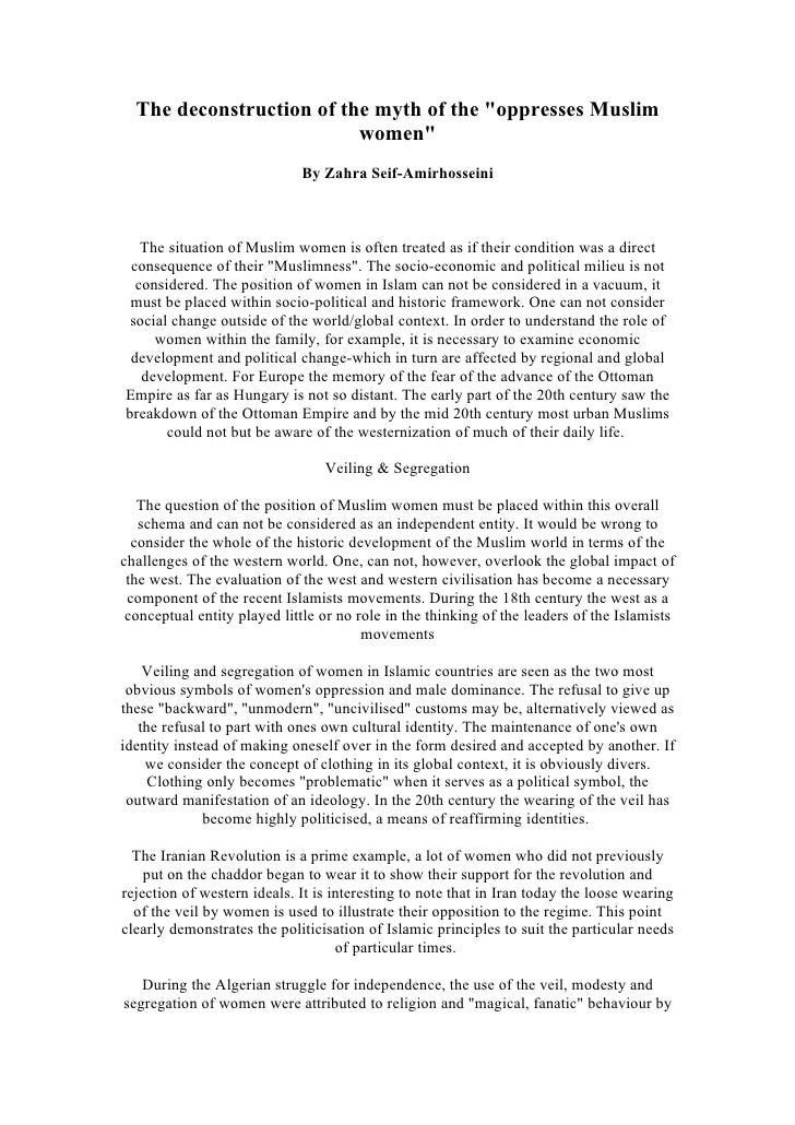 Destruction Of The Myth Oppressed Women