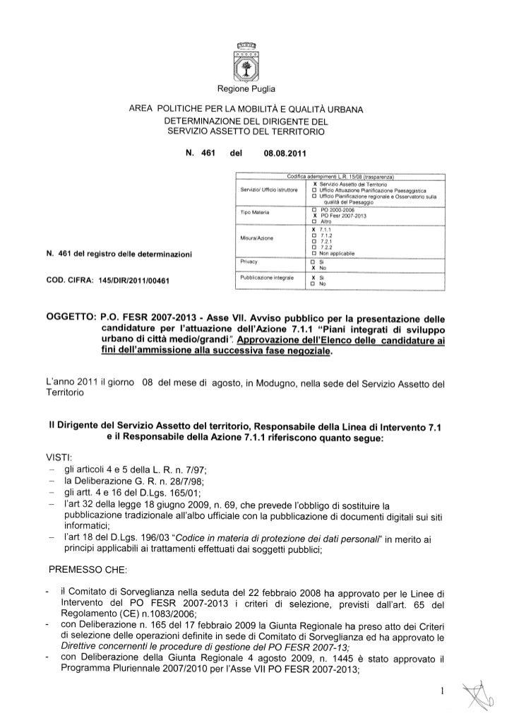 Regione Puglia                      AREA POLITICHE PER LA MOBILITÀ E QUALITÀ URBANA                            DETERMINAZI...
