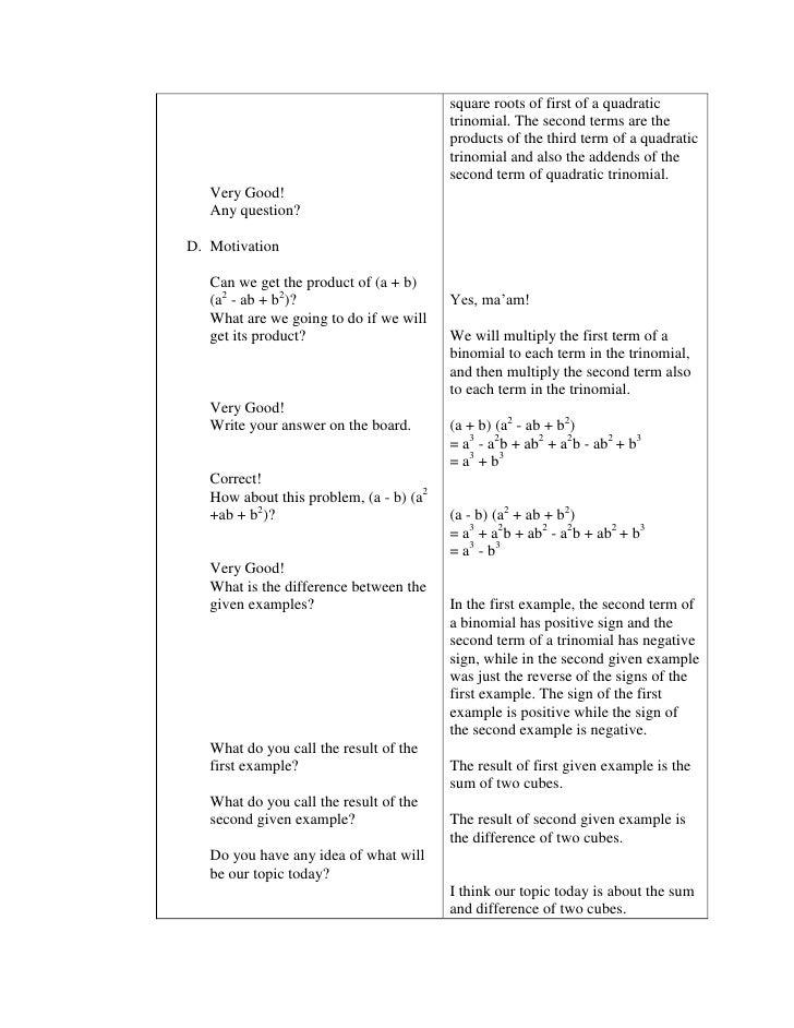 Free algebra lesson plans for high school