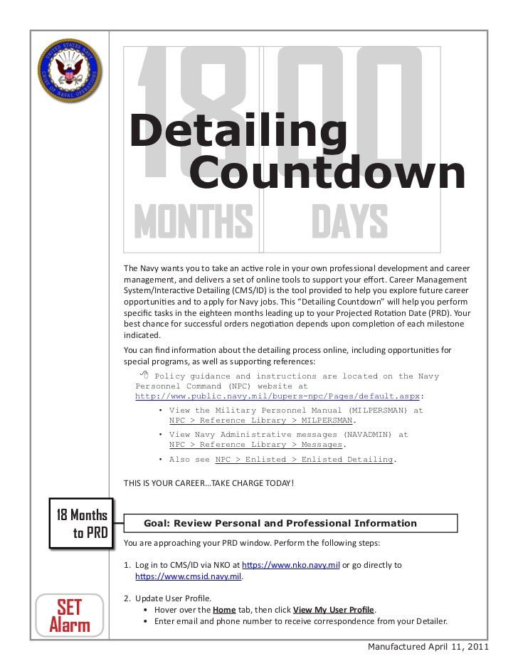 18 00            Detailing               Countdown            MONTHS DAYS            The Navy wants you to take an active ...