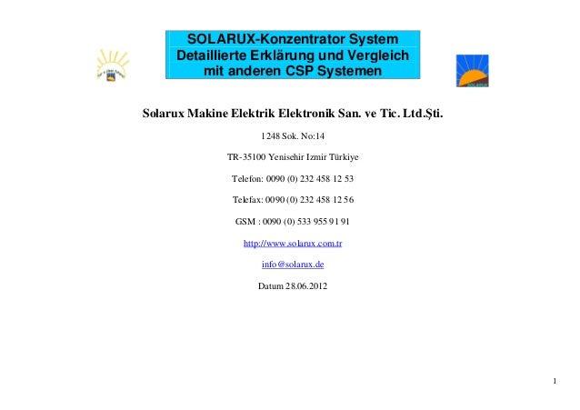 SOLARUX-Konzentrator System Detaillierte Erklärung und Vergleich mit anderen CSP Systemen Solarux Makine Elektrik Elektron...