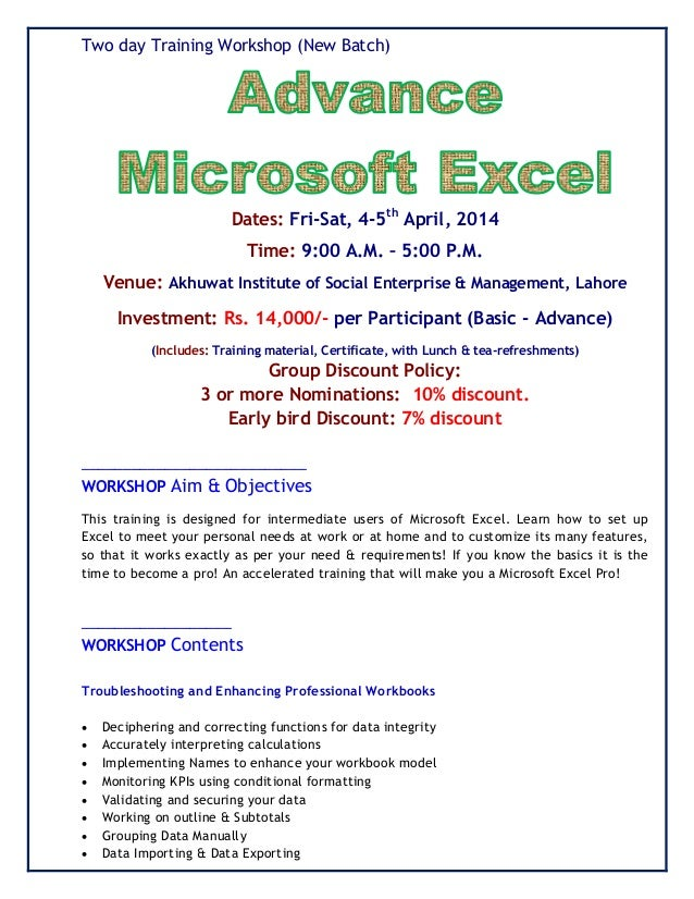 Details Microsoft Excel Workshop by Rays Trainings
