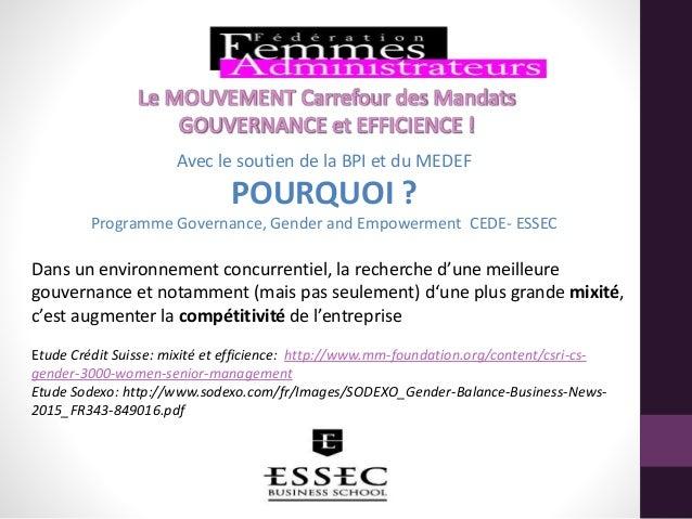 Avec le soutien de la BPI et du MEDEF POURQUOI ? Programme Governance, Gender and Empowerment CEDE- ESSEC Dans un environn...