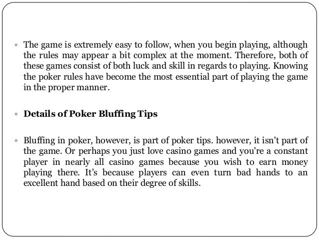 Poker bluff techniques