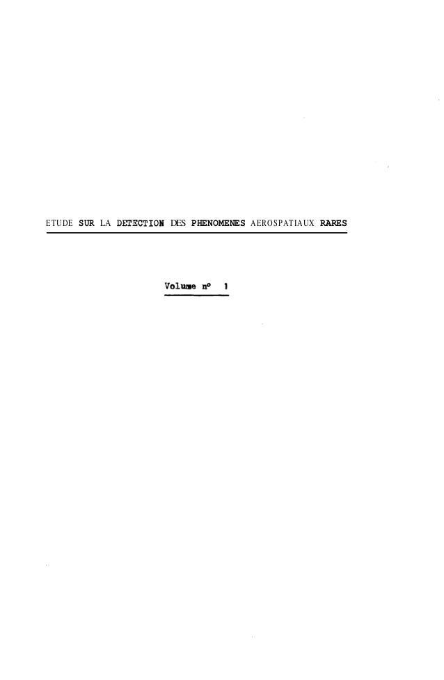 ETUDE SUR LA DEIlECTION DES PHENOMENES AEROSPATIAUX RARES