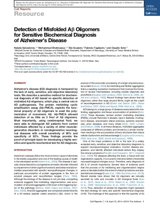 Cell Reports Resource Detection of Misfolded Ab Oligomers for Sensitive Biochemical Diagnosis of Alzheimer's Disease Natal...
