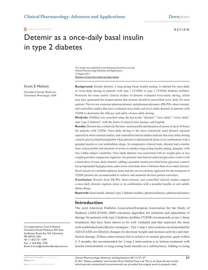 Detemir as a once daily basal insulin in type 2 diabetes