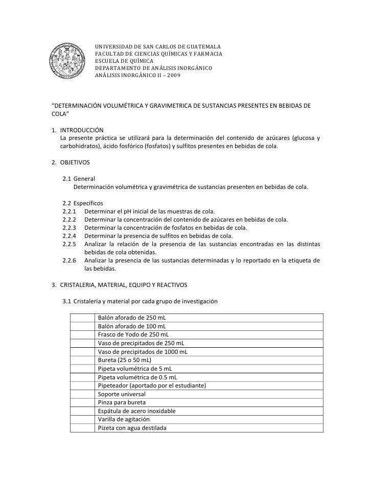 UNIVERSIDAD DE SAN CARLOS DE GUATEMALA                FACULTAD DE CIENCIAS QUÍMICAS Y FARMACIA                ESCUELA DE Q...