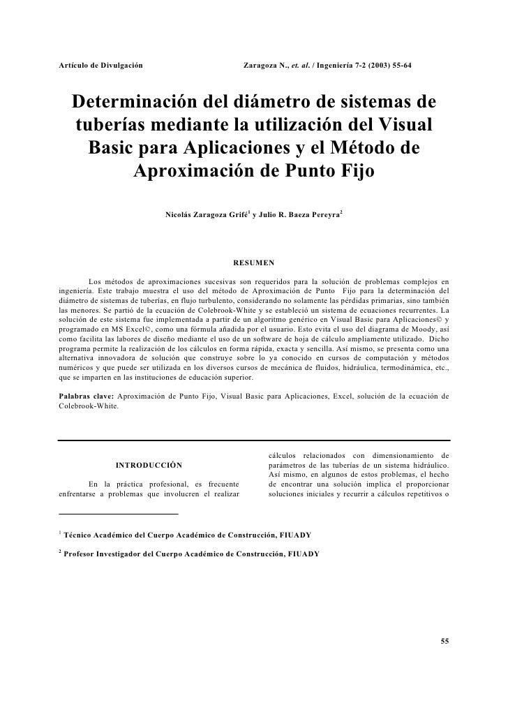 Artículo de Divulgación                                Zaragoza N., et. al. / Ingeniería 7-2 (2003) 55-64      Determinaci...