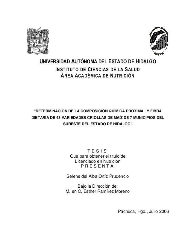 """UNIVERSIDAD AUTÓNOMA DEL ESTADO DE HIDALGO INSTITUTO DE CIENCIAS DE LA SALUD ÁREA ACADÉMICA DE NUTRICIÓN """"DETERMINACIÓN DE..."""